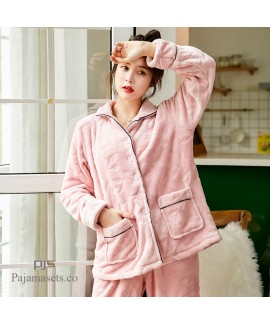 thick long sleeve flannel pajama sets women comfy ...
