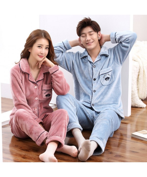 Long-sleeved flannel couple pajamas thickened warm...