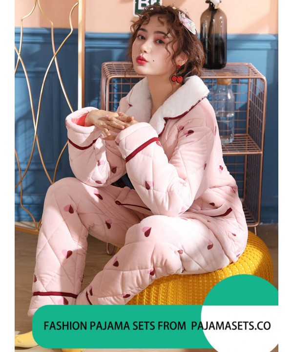 c99d460fdc pyjamas Female Winter Three-tier Thickened Warm Keeping Flannel Suit for  Fall and Winter Outside Pajamas
