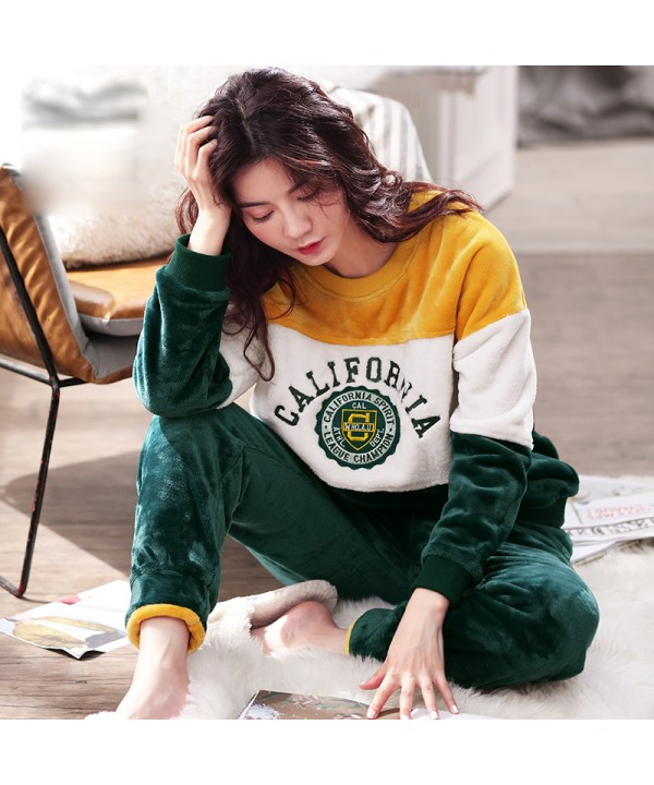 Women's Winter Thickened Flannel Long Sleeve Pajamas Autumn and Winter Pajamas Suit