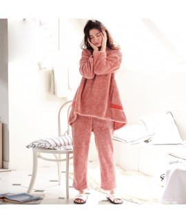 Winter Long Sleeve Pajamas Long Flannel Female Autumn and Winter Thickening Pajamas Suit