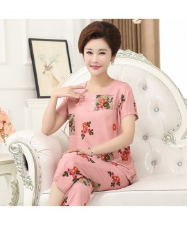 large size breathable sleepwear for middle-aged wo...