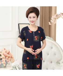large size breathable sleepwear for middle-aged women