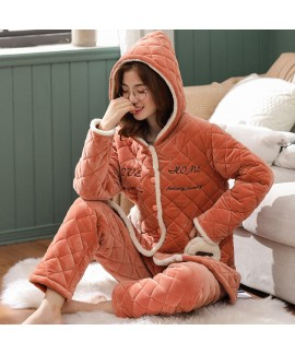 Thickened Cotton Flannel Warm Coral Flannel Pajama...