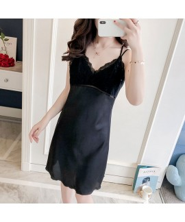 Sexy Pyjamas Female Spring and Summer Ice Silk Lac...