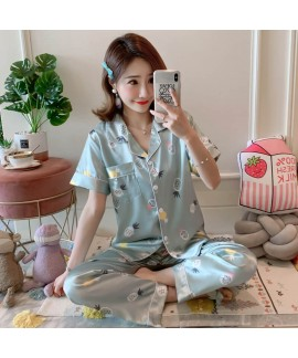 Large Size Sleepwear women Short Sleeve Loose and Fatten Ice Silk pajama sets