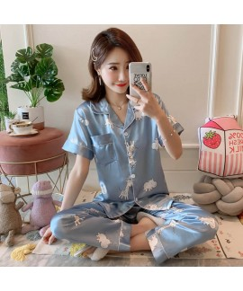 Large Size Sleepwear women Short Sleeve Loose and Fatten Ice Silk pajama sets