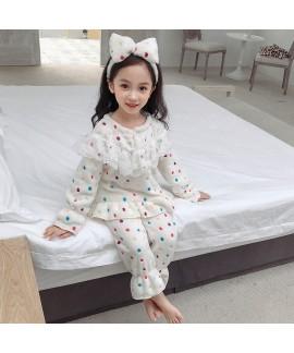 Fashion leopard print girl's pajamas suit autumn and winter cartoon children's pajamas lovely pyjamas