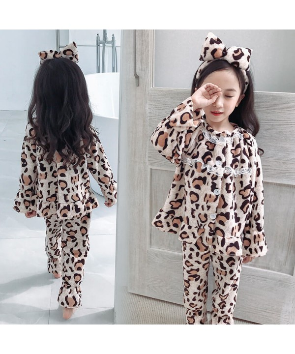 Fashion leopard print girl's pajamas suit autumn a...