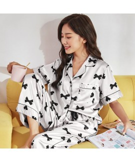 Comfortable and Cool Ladies Satin sleepwear Chiffon Butterfly-knot Printed Nightwear Set  for Summer