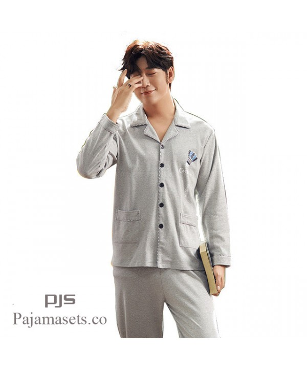 Leisure Long Sleeve Pure Cotton pajamas for spring comfy men lounge pjs