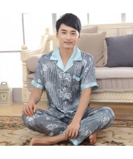 Men's Short Sleeve Simulated Silky Nightwear Slim Fashion Stripe pajama sets for Summer
