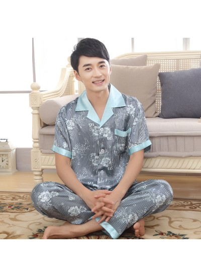 Men's Short Sleeve Simulated Silky Nightwear Slim Fashion Stripe pajama sets for Summer