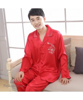 Men's comfy sleepwear Plus Size pyjamas cheap Embroidery Male's set pjs