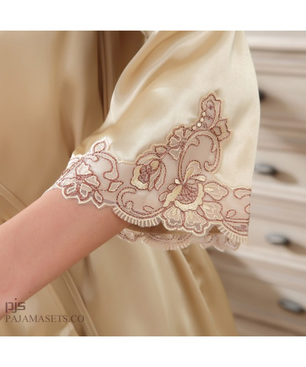 New two set of Silk pajamas female for summer comfy silk like sleepwear womens pajamas