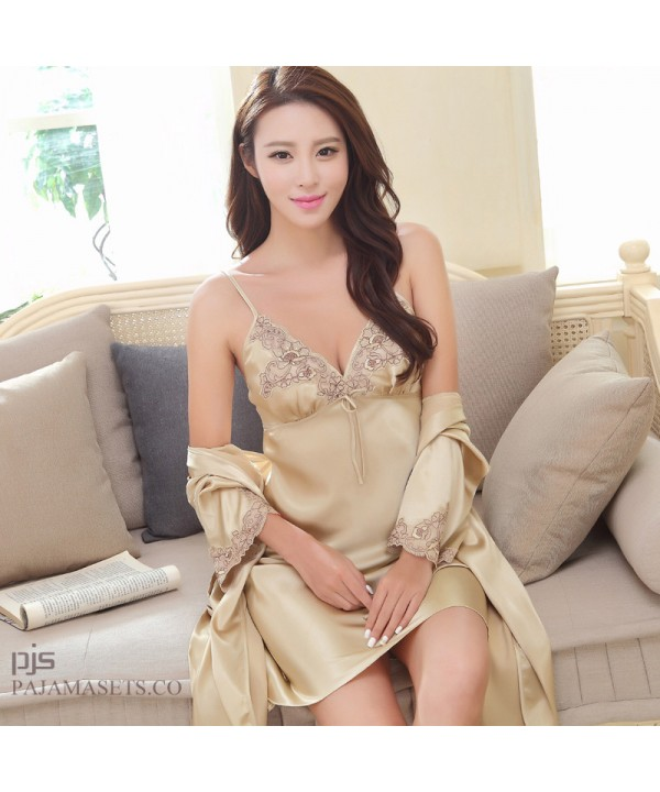 New two set of Silk pajamas female for summer comf...