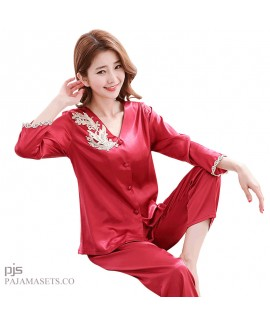 Leisure Simulated silk pajama sets for women lace cardigan  mother's silky nightwear for spring