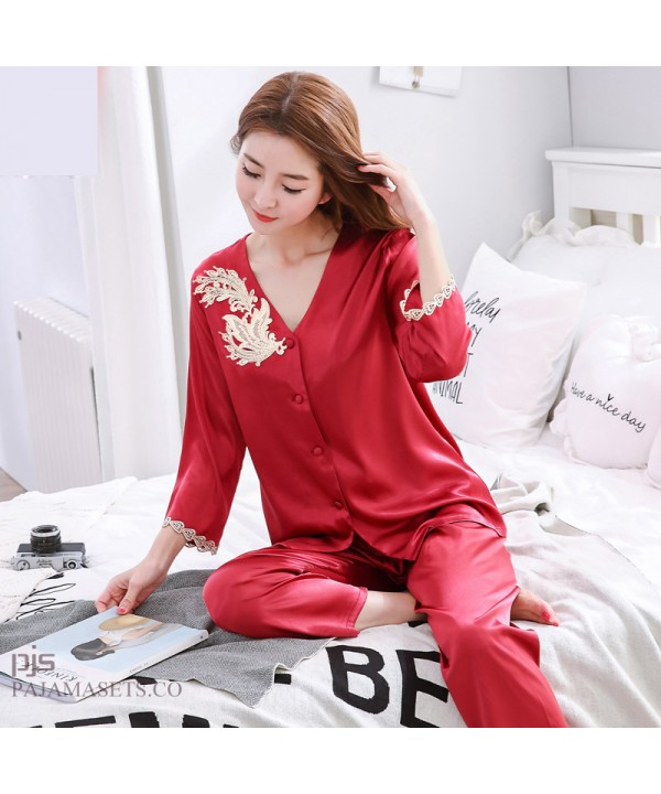 Leisure Simulated silk pajama sets for women lace ...