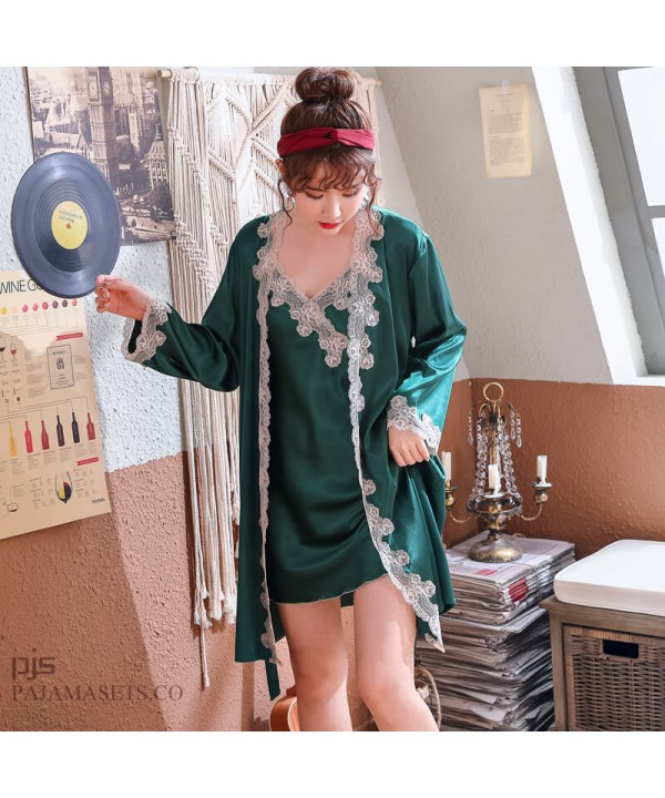 Ice Silk Sexy Sleepwear for women Lace Two Sets of pajamas