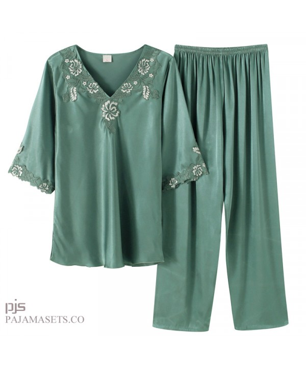 Ice Silk pajamas for middle-aged women in spring and summer