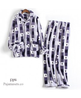 Plus size printed pajamas for men long sleeves male's thicken sleepwear