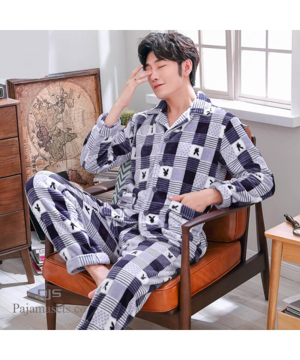 Plus size printed pajamas for men long sleeves mal...