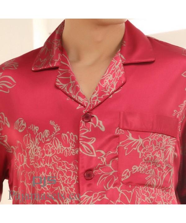 Men's comfy long sleeve silk like pyjamas cheap sleepwear for men