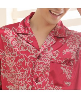 New Short Sleeve Silk like Nightwear for Wedding Red Men's pajama sets