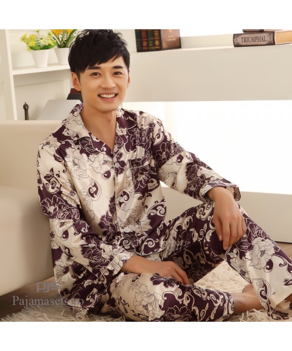 Cheap long sleeve men's new silk like pajama sets ...