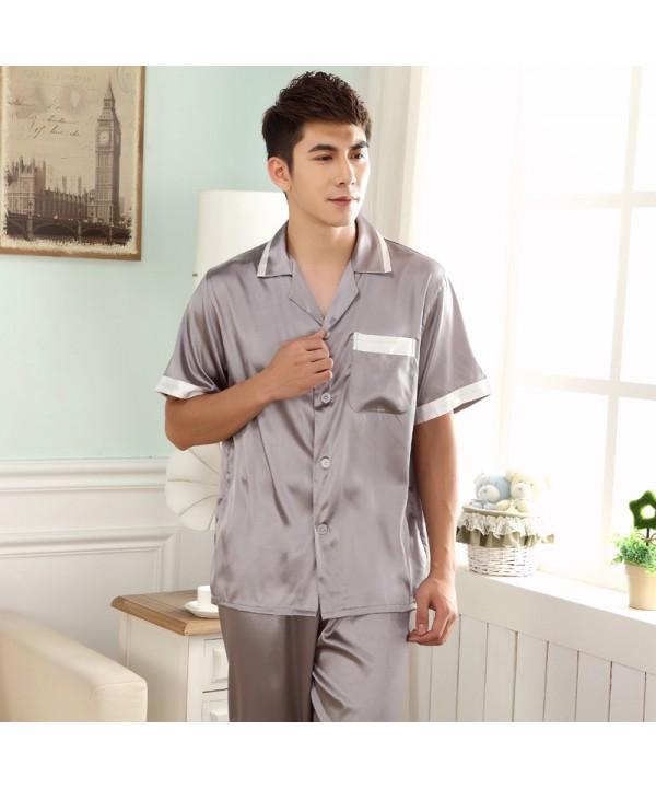 Short sleeved Men's plain fatten sleepwear large-s...