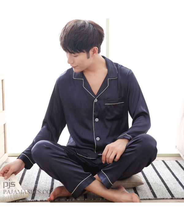 New Men's luxury Silk Sleepwear for Spring Long Sleeve Slim Pyjamas with Full Size