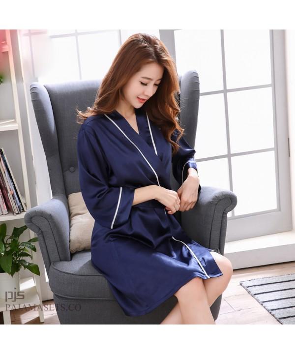 New silk like ladies pajamas and robe sets sexy long sleeve sleepwear womens pajamas for spring and autumn