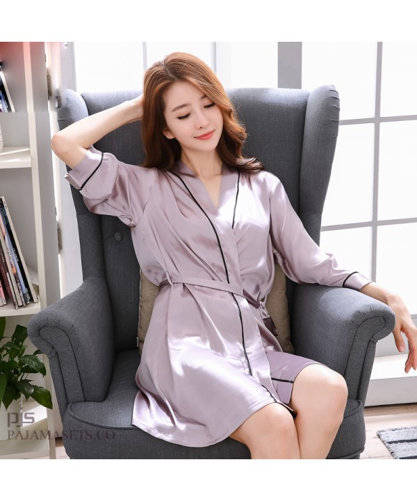 cf0f1866e54f New silk like ladies pajamas and robe sets sexy lo.