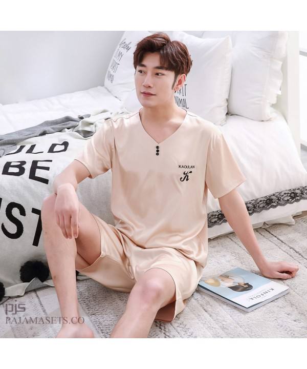 Plus size men's silk pj sets for spring comfy set of pajamas for male