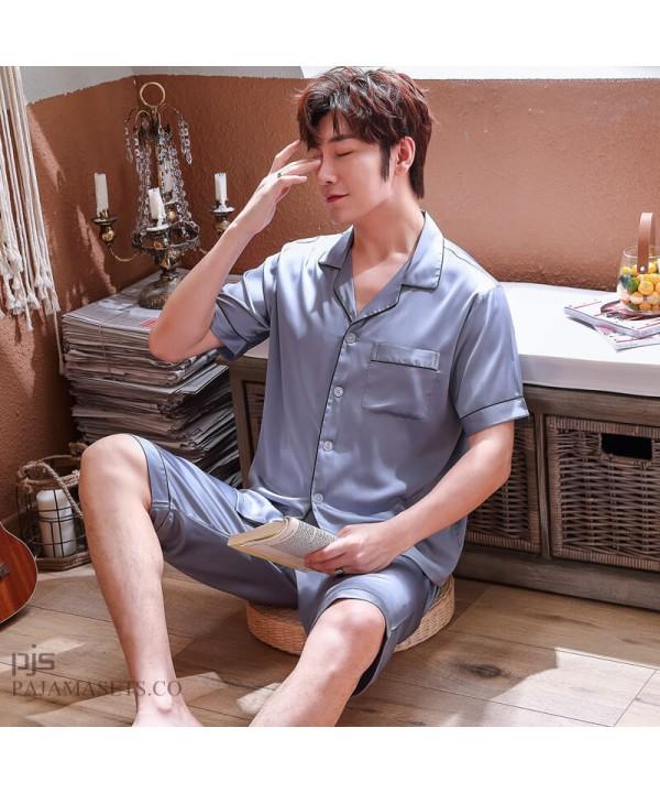 Short Sleeves Ice Silk pajamas Mens Plus Size male's sleepwear for Summer