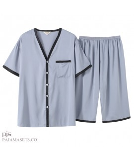 Large size Men's Simulated Silk Sleepwear Set Short-sleeved Leisure Ice Silk pajamas for summer