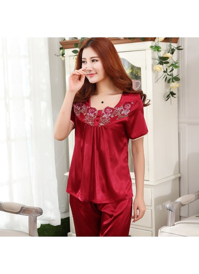 Ice Silk female wedding pajamas Summer women short-sleeved sleepwear