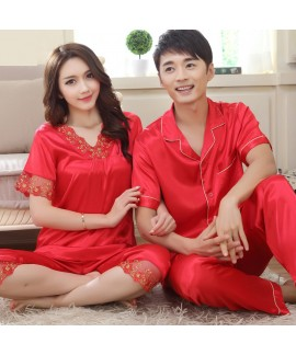 New Large size Couple Short Sleeve Sleepwear Set leasure pajama sets