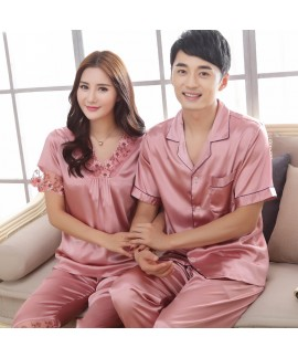 New Large size Couple Short Sleeve Sleepwear Set l...