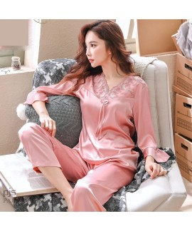 Elegant ladies silky nightwear for spring long sle...