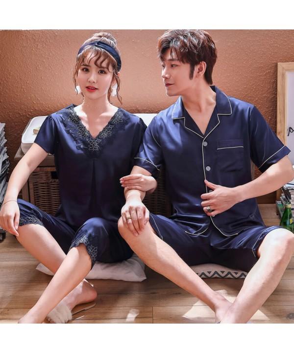 Large Simulated Silk Couple Sleepwear Set Short Sl...