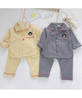 Plaid Thin Long Sleeve Children's Pajamas Suit For...