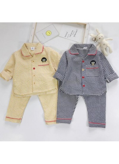 Plaid Thin Long Sleeve Children's Pajamas Suit For Spring And Autumn