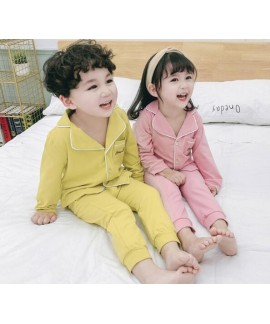 Long Sleeve Cotton Thin Cardigan Children's Pajamas Suit For Spring And Autumn