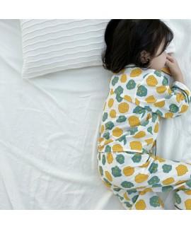 Children's Cotton Cardigan Long Sleeve Pajama Set ...