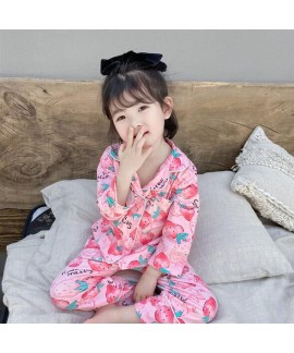 Strawberry Pattern Knitted Comfortable Pajamas Sui...