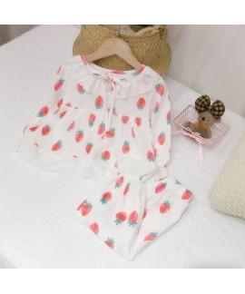 Cotton Girls Lace Strawberry Pattern Pajamas Set
