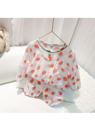 100 Cotton Strawberry Thin Long Sleeve Trousers Girls' Pajamas Suit For Spring And Autumn