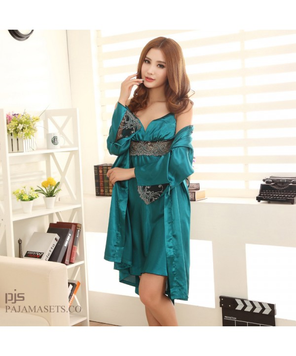 New silk pajama and robe sets for women Lace Sexy robe and pj sets for spring