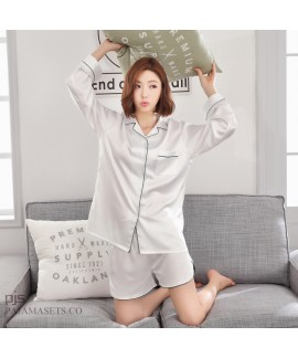 long sleeved Leisure silk like short sets of pajamas for spring white casual cardigan silky nightwear for women